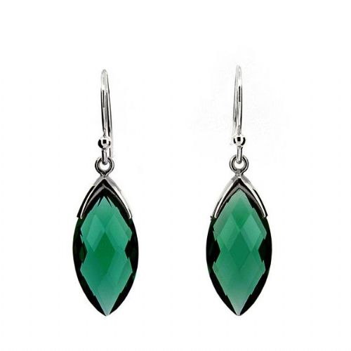 Silver Gemstone Marquise Earrings